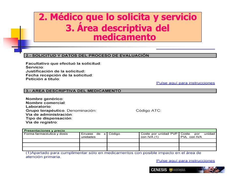 2. Médico que lo solicita y servicio 3. Área descriptiva del medicamento