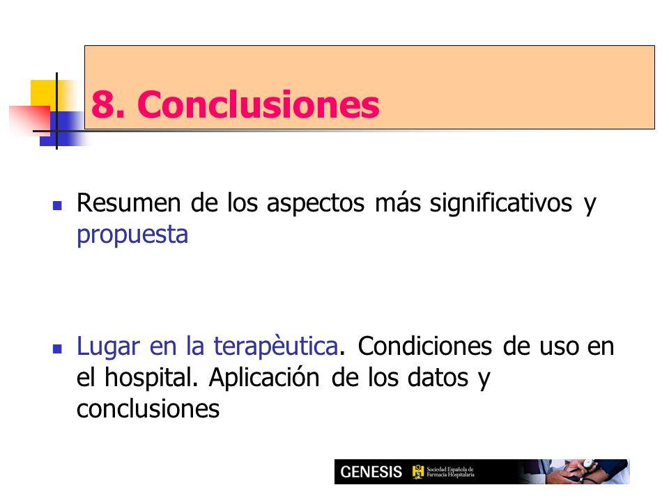 Resumen de los aspectos más significativos y propuesta Lugar en la terapèutica. Condiciones de uso en el hospital. Aplicación de los datos y conclusio