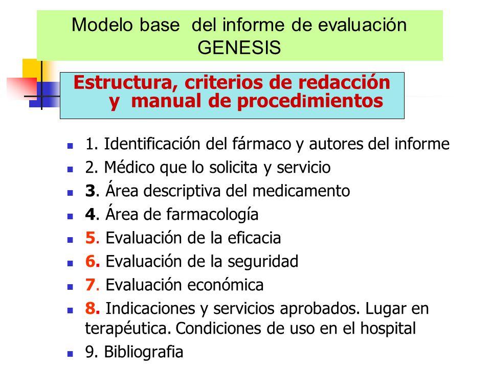 Modelo base del informe de evaluación GENESIS Estructura, criterios de redacción y manual de proced i mientos 1. Identificación del fármaco y autores