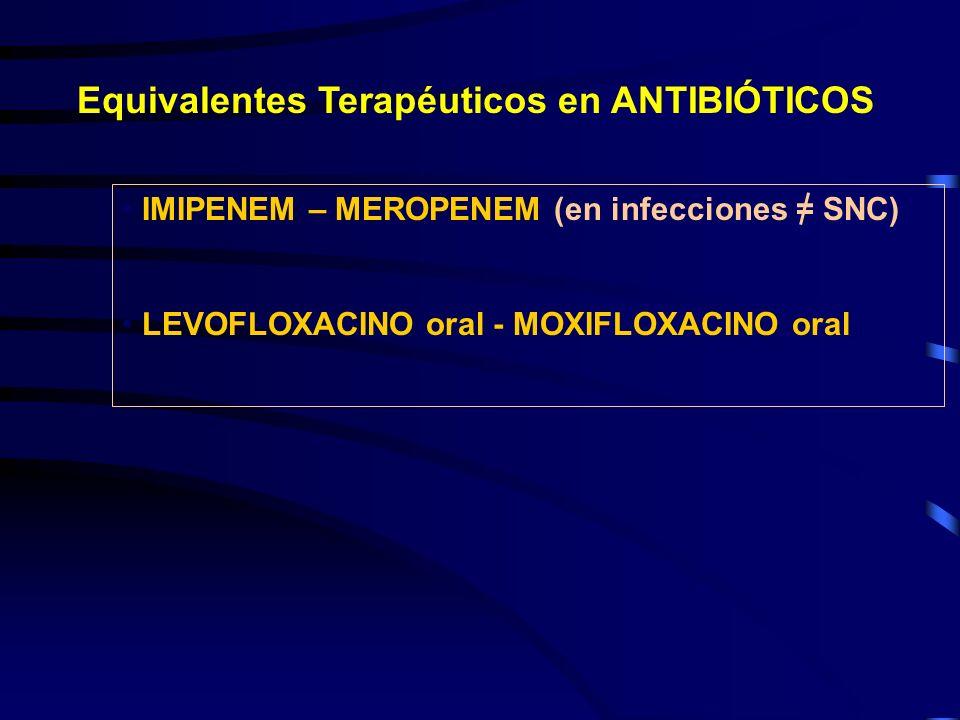 Equivalentes Terapéuticos en ANTIBIÓTICOS IMIPENEM – MEROPENEM (en infecciones = SNC) LEVOFLOXACINO oral - MOXIFLOXACINO oral