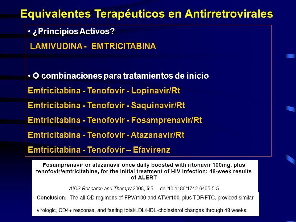 Equivalentes Terapéuticos en Antirretrovirales ¿Principios Activos? LAMIVUDINA - EMTRICITABINA O combinaciones para tratamientos de inicio Emtricitabi