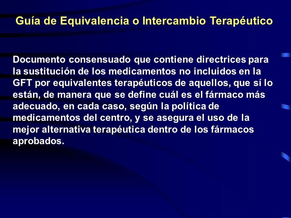 Guía de Equivalencia o Intercambio Terapéutico Documento consensuado que contiene directrices para la sustitución de los medicamentos no incluidos en