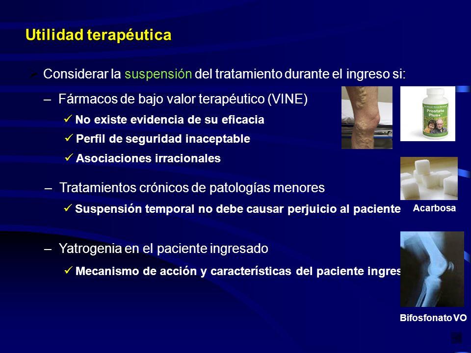Utilidad terapéutica : Considerar la suspensión del tratamiento durante el ingreso si: –Fármacos de bajo valor terapéutico (VINE) No existe evidencia