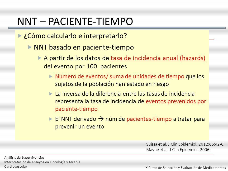 NNT – PACIENTE-TIEMPO ¿Cómo calcularlo e interpretarlo? NNT basado en paciente-tiempo A partir de los datos de tasa de incidencia anual (hazards) del