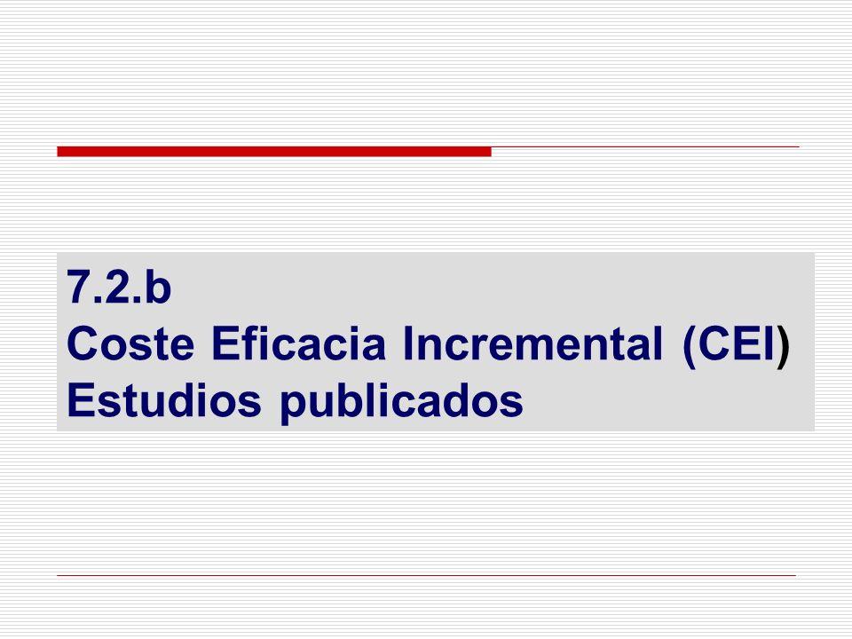 7.2.b Coste Eficacia Incremental (CEI) Estudios publicados