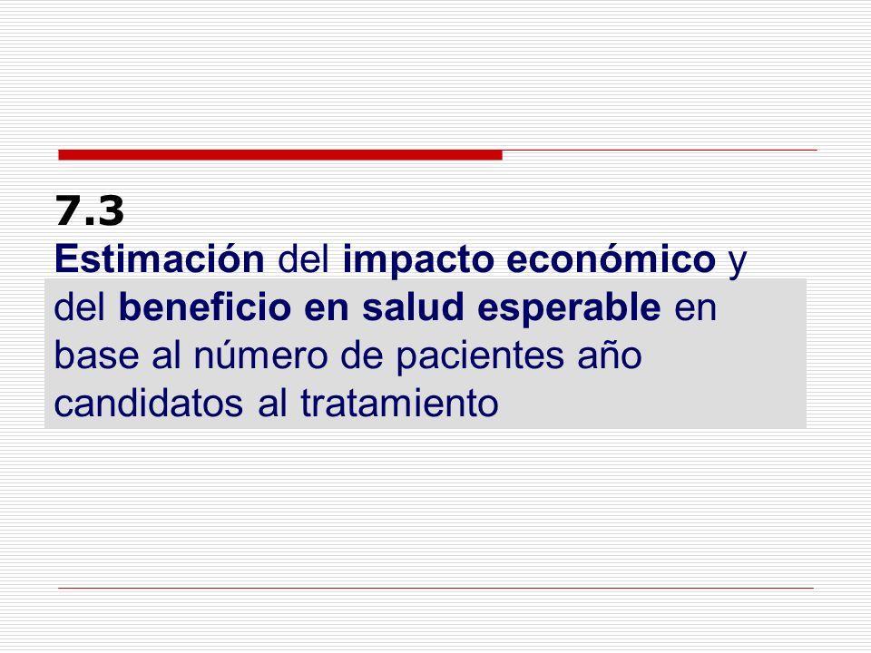 7.3 Estimación del impacto económico y del beneficio en salud esperable en base al número de pacientes año candidatos al tratamiento