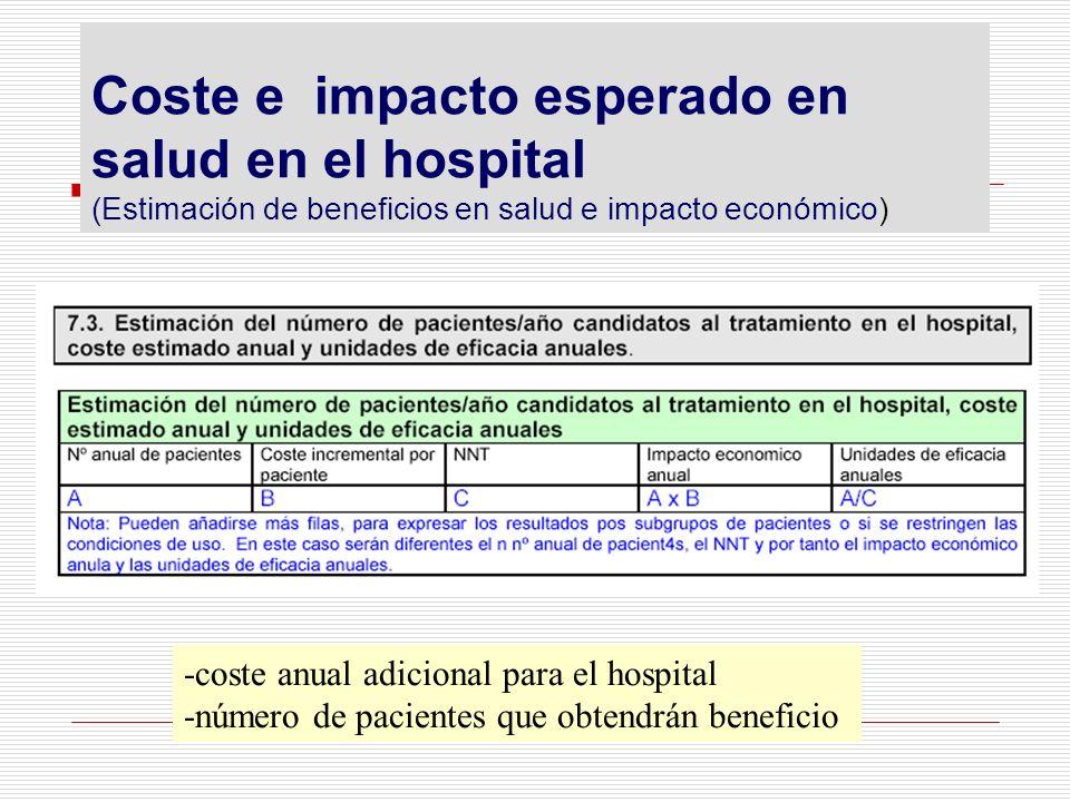 Coste e impacto esperado en salud en el hospital (Estimación de beneficios en salud e impacto económico) -coste anual adicional para el hospital -núme