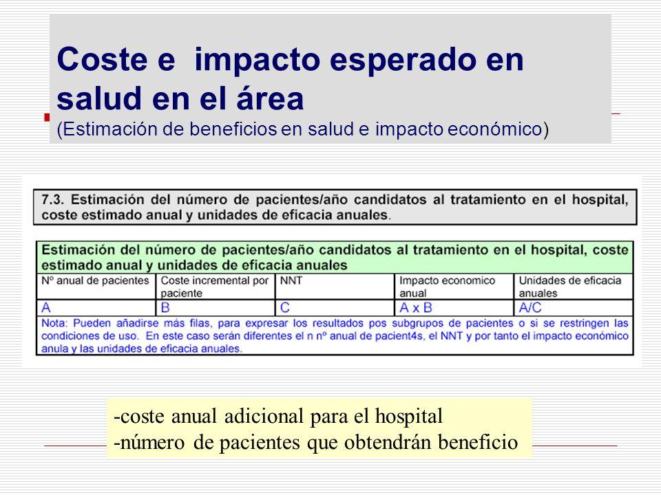 Coste e impacto esperado en salud en el área (Estimación de beneficios en salud e impacto económico) -coste anual adicional para el hospital -número d