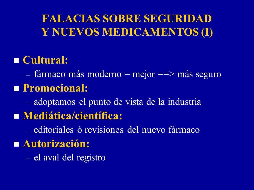 FALACIAS SOBRE SEGURIDAD Y NUEVOS MEDICAMENTOS (I) n Cultural: – fármaco más moderno = mejor ==> más seguro n Promocional: – adoptamos el punto de vis