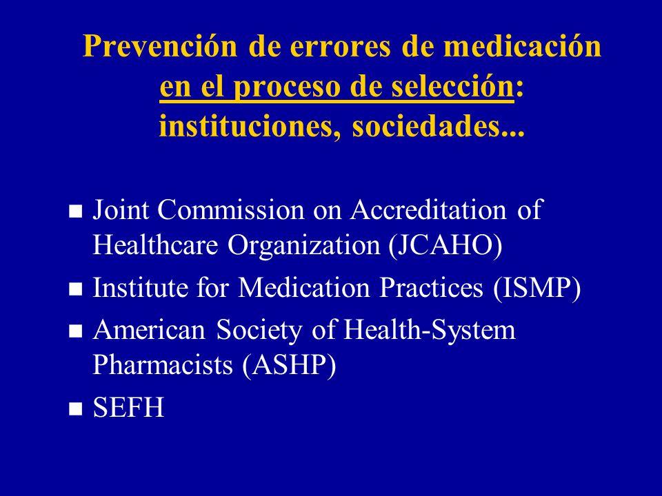 Prevención de errores de medicación en el proceso de selección: instituciones, sociedades... n Joint Commission on Accreditation of Healthcare Organiz