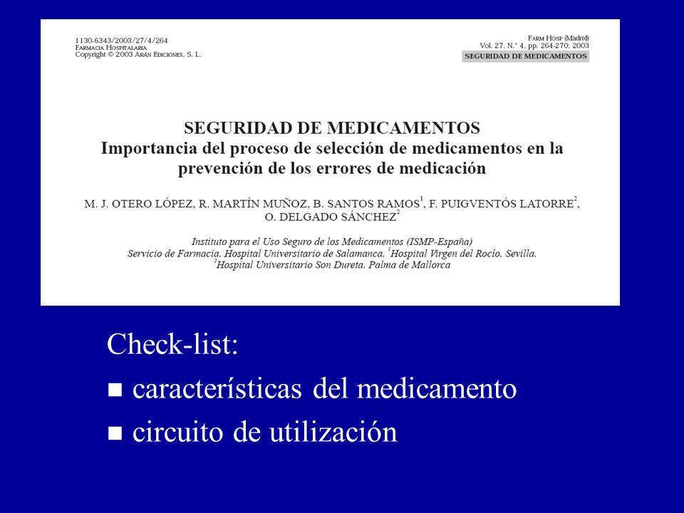 Prevención de errores de medicación en el proceso de selección (II): Otero et al. Farm Hosp 2003; 27: 264-270. Check-list: n características del medic