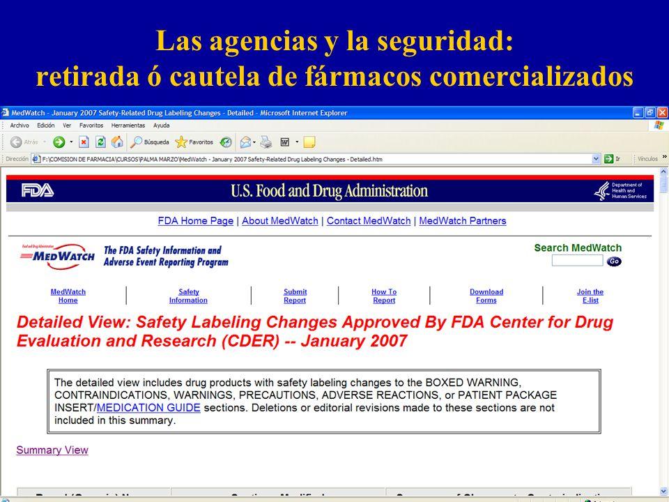 Las agencias y la seguridad: retirada ó cautela de fármacos comercializados