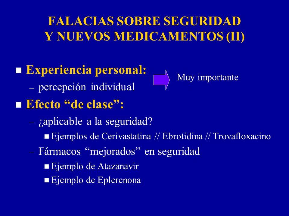 n Experiencia personal: – percepción individual n Efecto de clase: – ¿aplicable a la seguridad? n Ejemplos de Cerivastatina // Ebrotidina // Trovaflox