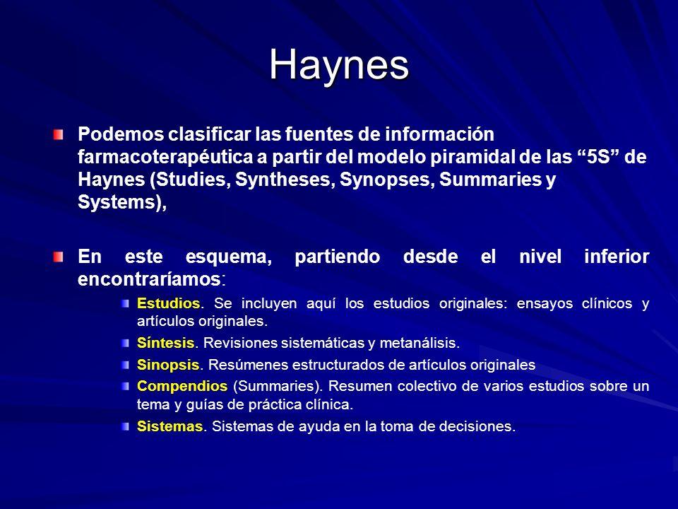 Haynes Podemos clasificar las fuentes de información farmacoterapéutica a partir del modelo piramidal de las 5S de Haynes (Studies, Syntheses, Synopse