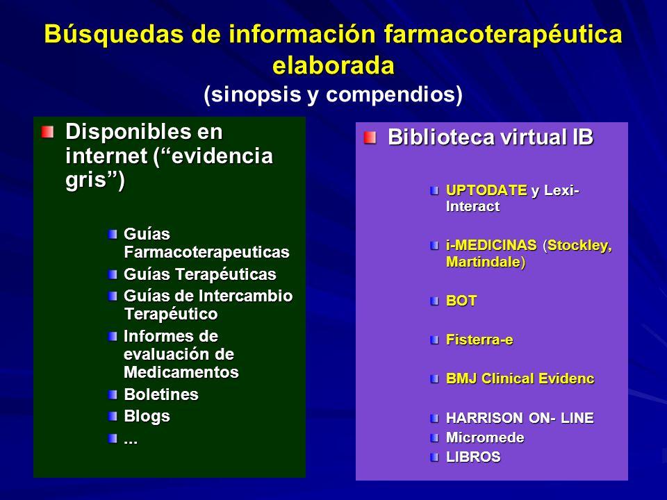 Búsquedas de información farmacoterapéutica elaborada Búsquedas de información farmacoterapéutica elaborada (sinopsis y compendios) Disponibles en int