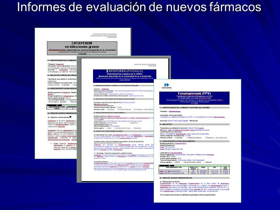 Informes de evaluación de nuevos fármacos