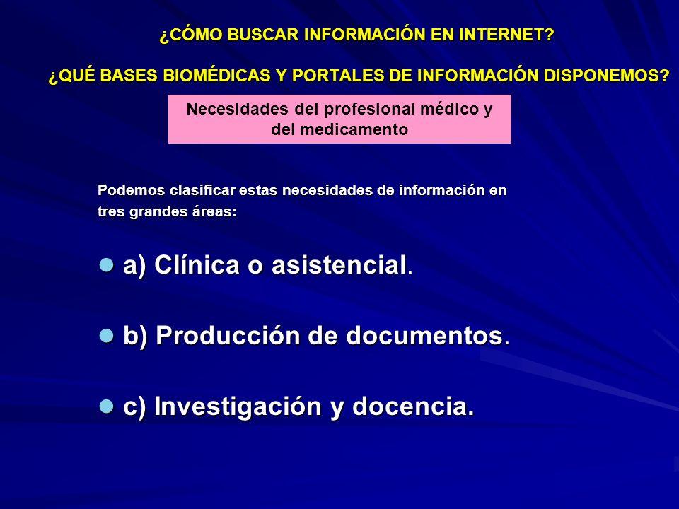 ¿CÓMO BUSCAR INFORMACIÓN EN INTERNET? ¿QUÉ BASES BIOMÉDICAS Y PORTALES DE INFORMACIÓN DISPONEMOS? Necesidades del profesional médico y del medicamento