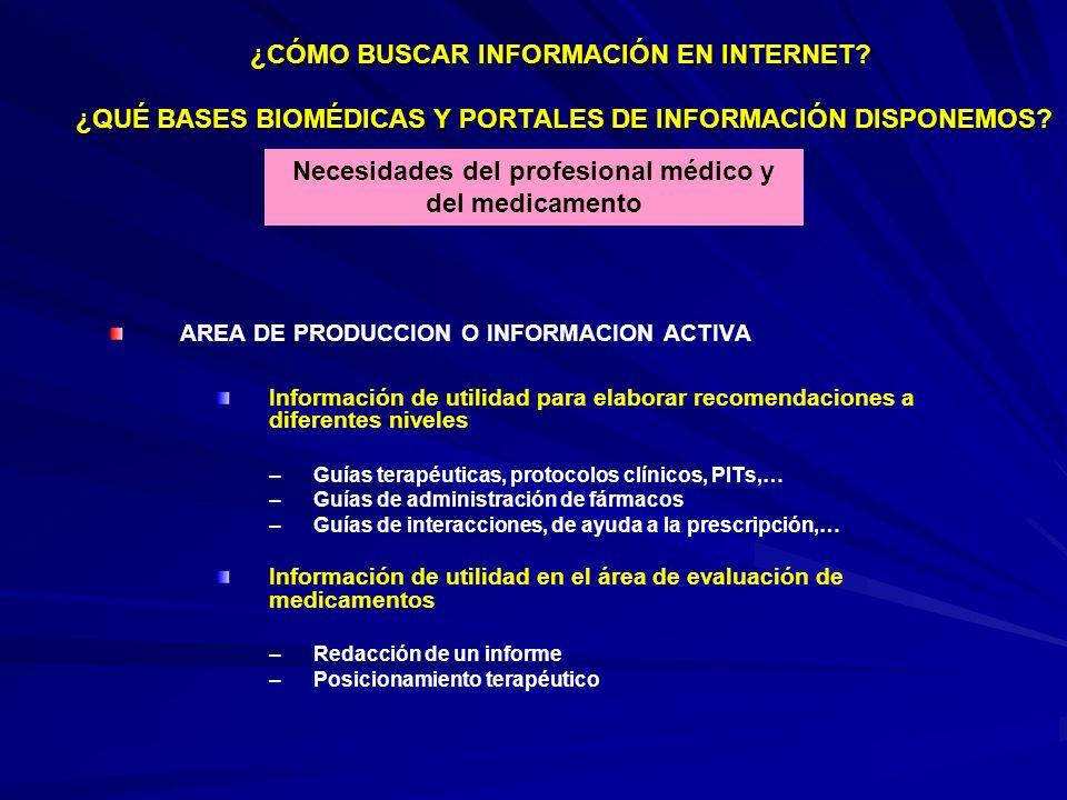 AREA DE PRODUCCION O INFORMACION ACTIVA Información de utilidad para elaborar recomendaciones a diferentes niveles – –Guías terapéuticas, protocolos c