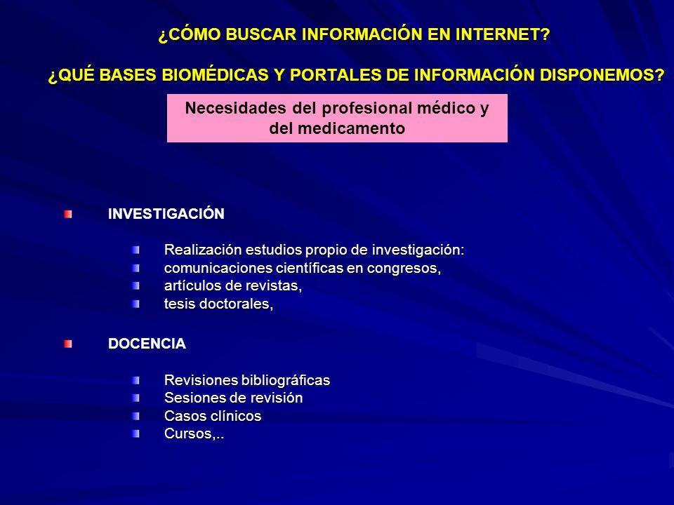 INVESTIGACIÓN Realización estudios propio de investigación: comunicaciones científicas en congresos, artículos de revistas, tesis doctorales, DOCENCIA