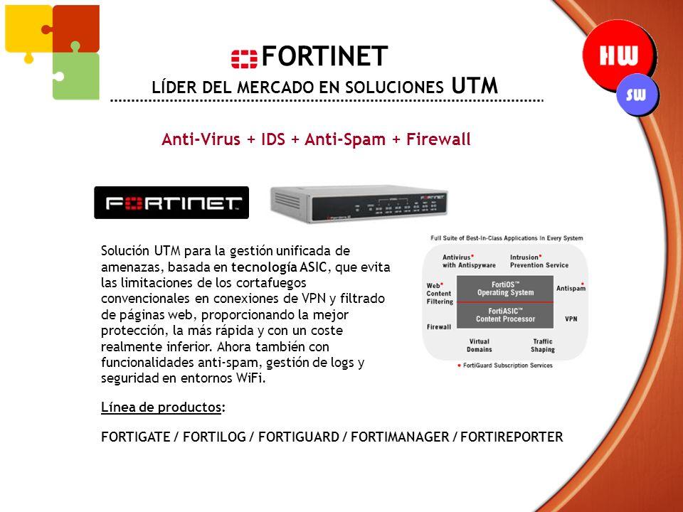 FORTINET LÍDER DEL MERCADO EN SOLUCIONES UTM Anti-Virus + IDS + Anti-Spam + Firewall Solución UTM para la gestión unificada de amenazas, basada en tec