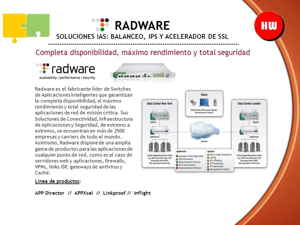 RADWARE SOLUCIONES IAS: BALANCEO, IPS Y ACELERADOR DE SSL Completa disponibilidad, máximo rendimiento y total seguridad Radware es el fabricante líder