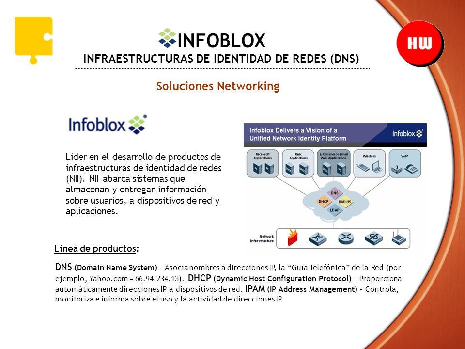 INFOBLOX INFRAESTRUCTURAS DE IDENTIDAD DE REDES (DNS) Soluciones Networking Líder en el desarrollo de productos de infraestructuras de identidad de re