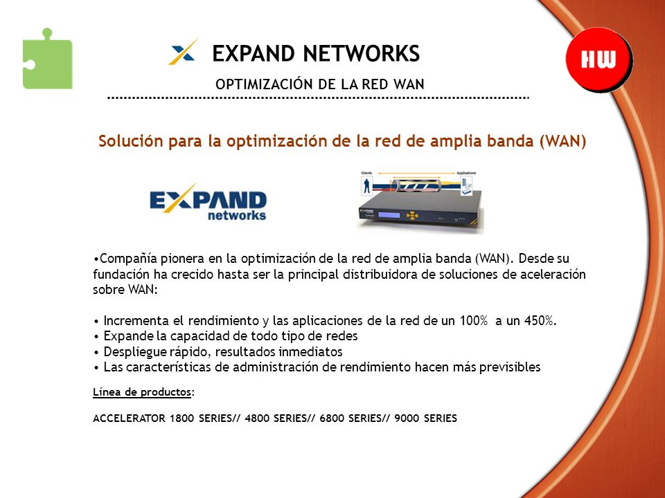 EXPAND NETWORKS OPTIMIZACIÓN DE LA RED WAN Solución para la optimización de la red de amplia banda (WAN) Compañía pionera en la optimización de la red
