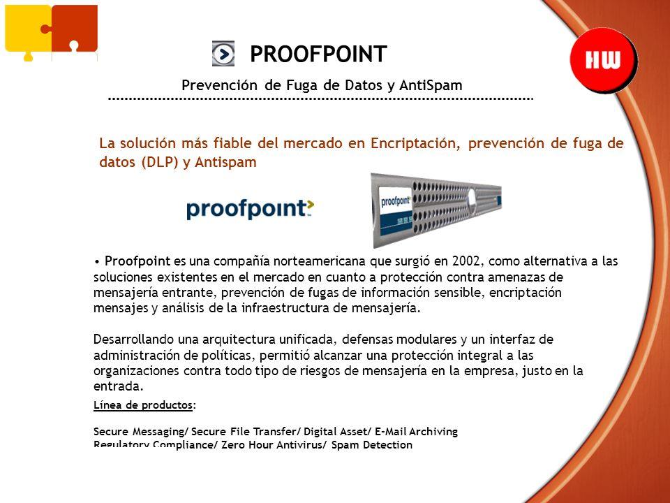 PROOFPOINT Prevención de Fuga de Datos y AntiSpam La solución más fiable del mercado en Encriptación, prevención de fuga de datos (DLP) y Antispam Pro