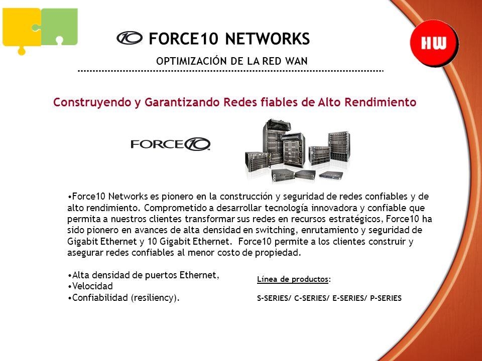 FORCE10 NETWORKS OPTIMIZACIÓN DE LA RED WAN Construyendo y Garantizando Redes fiables de Alto Rendimiento Force10 Networks es pionero en la construcci