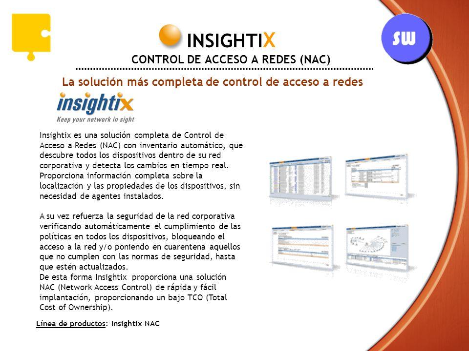 La solución más completa de control de acceso a redes INSIGHTI X CONTROL DE ACCESO A REDES (NAC) Insightix es una solución completa de Control de Acce
