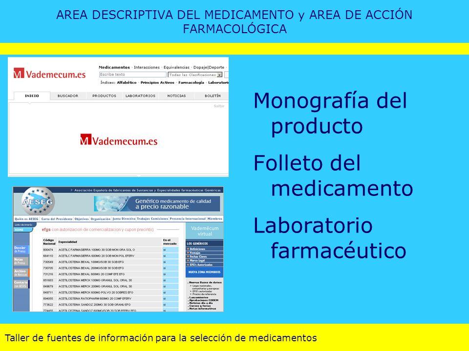 Taller de fuentes de información para la selección de medicamentos AREA DESCRIPTIVA DEL MEDICAMENTO y AREA DE ACCIÓN FARMACOLÓGICA Monografía del prod