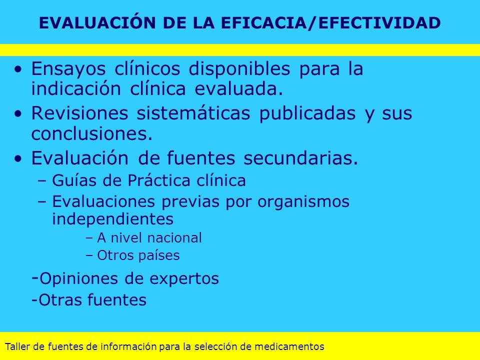 Taller de fuentes de información para la selección de medicamentos EVALUACIÓN DE LA EFICACIA/EFECTIVIDAD Ensayos clínicos disponibles para la indicaci
