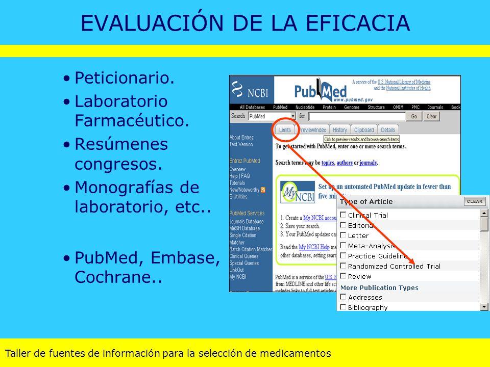Taller de fuentes de información para la selección de medicamentos EVALUACIÓN DE LA EFICACIA Peticionario. Laboratorio Farmacéutico. Resúmenes congres