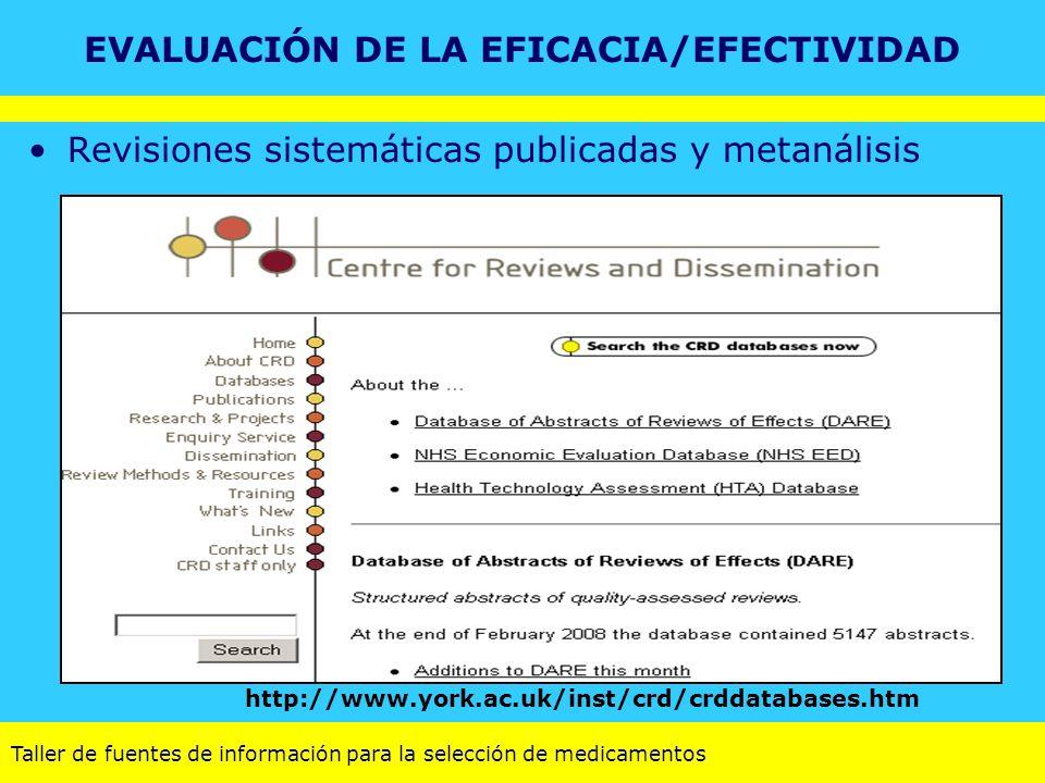 Taller de fuentes de información para la selección de medicamentos Revisiones sistemáticas publicadas y metanálisis http://www.york.ac.uk/inst/crd/crd