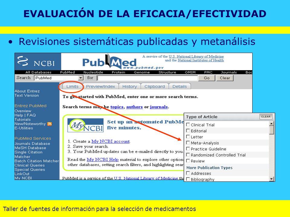 Taller de fuentes de información para la selección de medicamentos Revisiones sistemáticas publicadas y metanálisis EVALUACIÓN DE LA EFICACIA/EFECTIVI