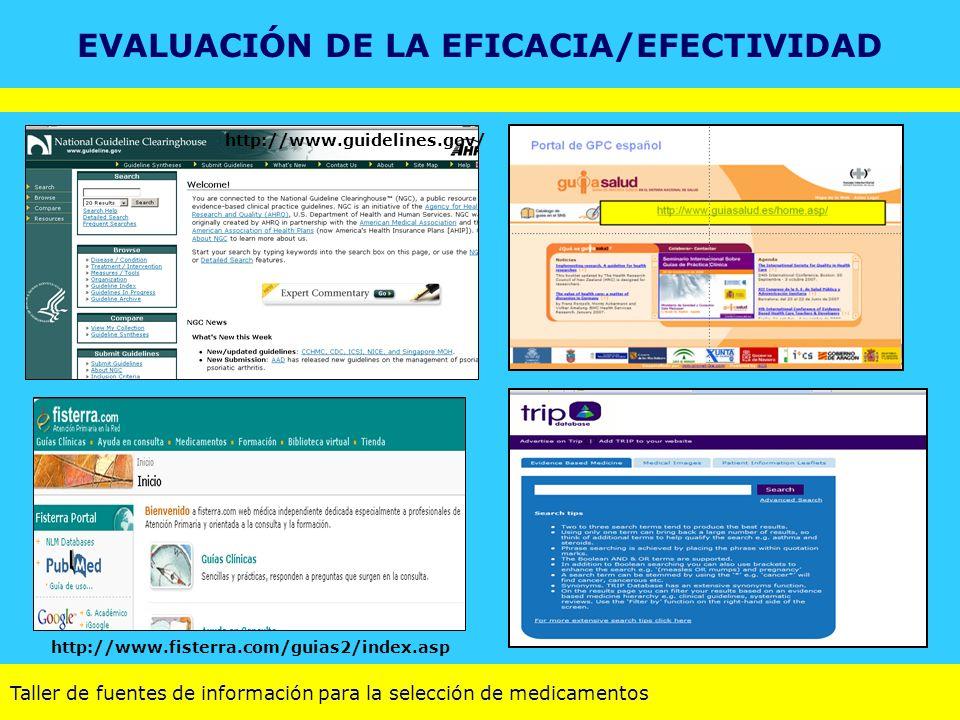 Taller de fuentes de información para la selección de medicamentos http://www.fisterra.com/guias2/index.asp http://www.guidelines.gov/ EVALUACIÓN DE L