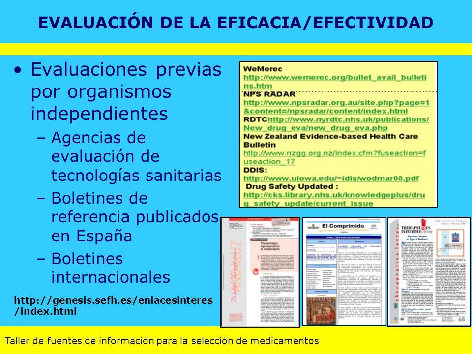 Taller de fuentes de información para la selección de medicamentos Evaluaciones previas por organismos independientes –Agencias de evaluación de tecno