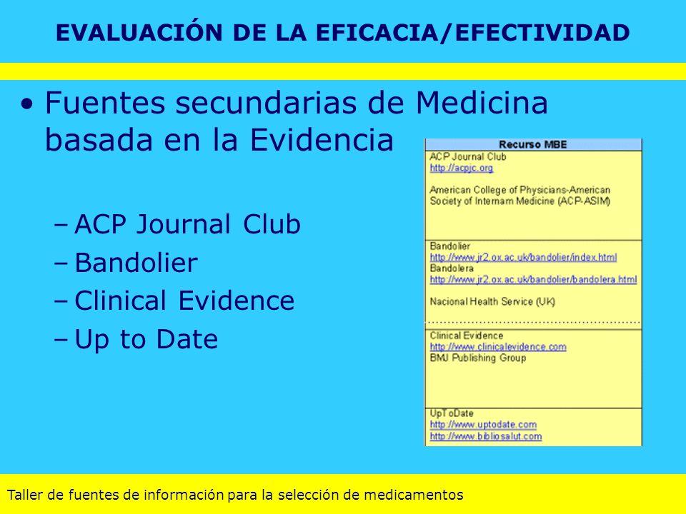 Taller de fuentes de información para la selección de medicamentos Fuentes secundarias de Medicina basada en la Evidencia –ACP Journal Club –Bandolier