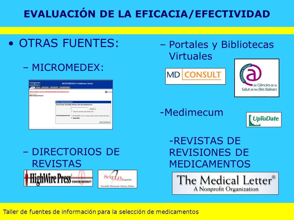 Taller de fuentes de información para la selección de medicamentos OTRAS FUENTES: –MICROMEDEX: –DIRECTORIOS DE REVISTAS –Portales y Bibliotecas Virtua