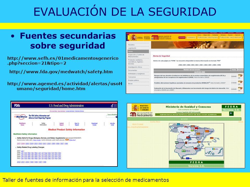Taller de fuentes de información para la selección de medicamentos EVALUACIÓN DE LA SEGURIDAD Fuentes secundarias sobre seguridad http://www.fda.gov/m