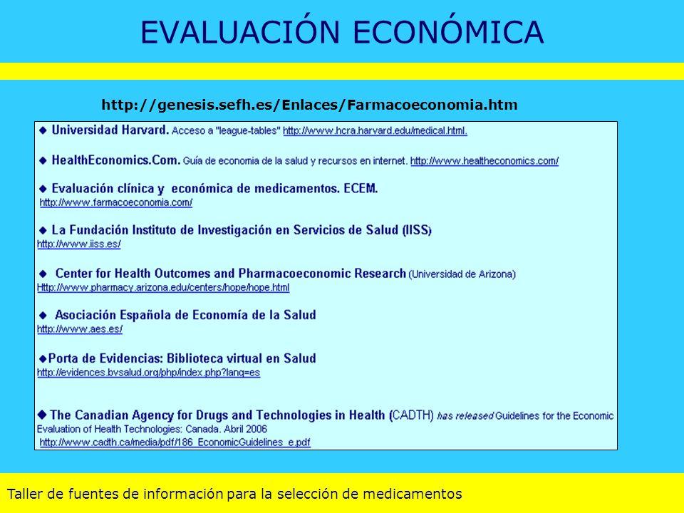 Taller de fuentes de información para la selección de medicamentos EVALUACIÓN ECONÓMICA http://genesis.sefh.es/Enlaces/Farmacoeconomia.htm