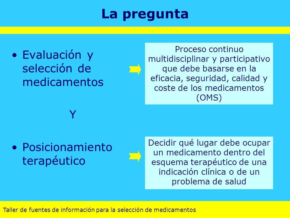 Taller de fuentes de información para la selección de medicamentos La pregunta Decidir qué lugar debe ocupar un medicamento dentro del esquema terapéu