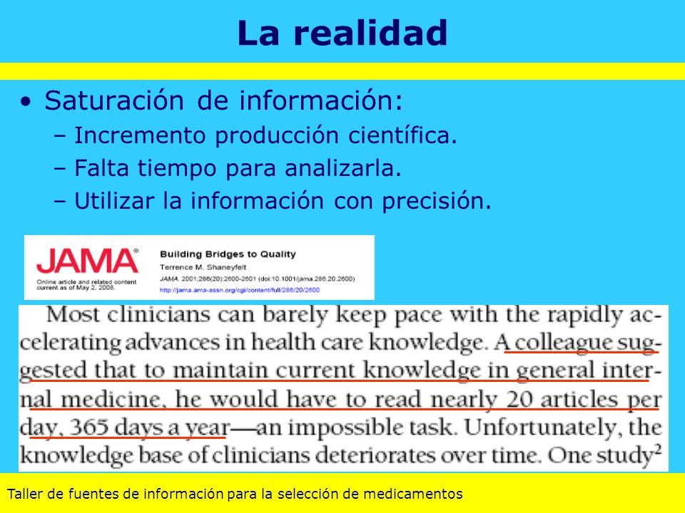 Taller de fuentes de información para la selección de medicamentos La realidad Saturación de información: –Incremento producción científica. –Falta ti