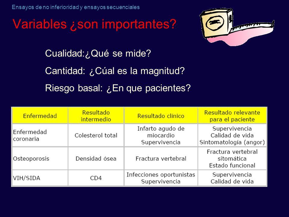 Ensayos de no inferioridad y ensayos secuenciales Variables ¿son importantes? Cualidad:¿Qué se mide? Cantidad: ¿Cúal es la magnitud? Riesgo basal: ¿En