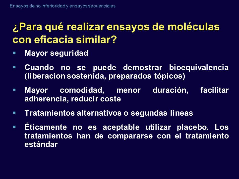 Ensayos de no inferioridad y ensayos secuenciales ¿Para qué realizar ensayos de moléculas con eficacia similar? Mayor seguridad Cuando no se puede dem