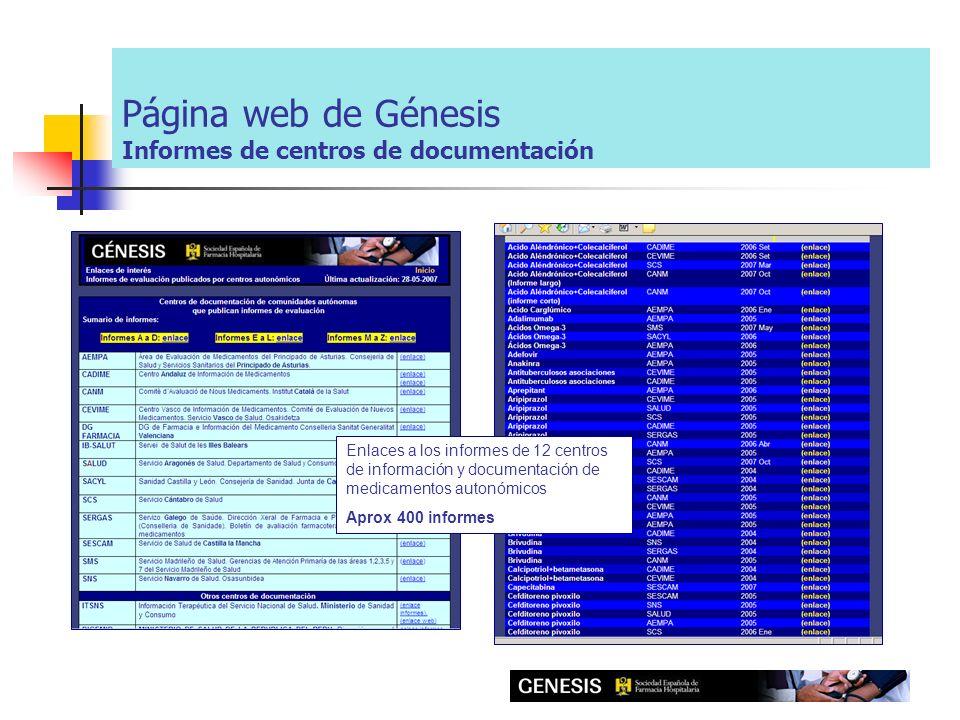 Página web de Génesis Informes de centros de documentación Enlaces a los informes de 12 centros de información y documentación de medicamentos autonómicos Aprox 400 informes