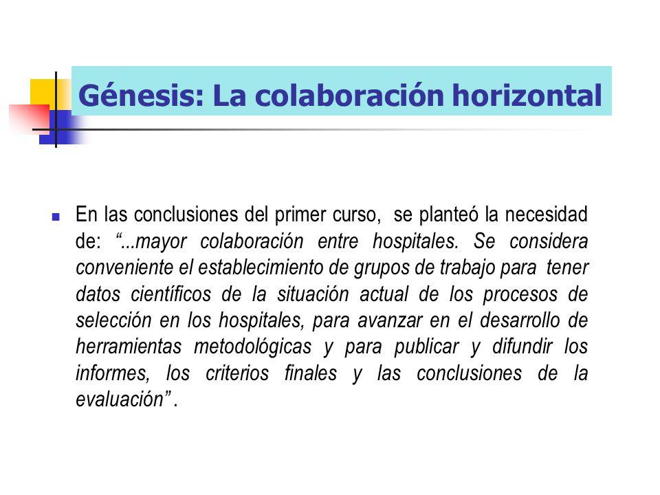 En las conclusiones del primer curso, se planteó la necesidad de:...mayor colaboración entre hospitales.