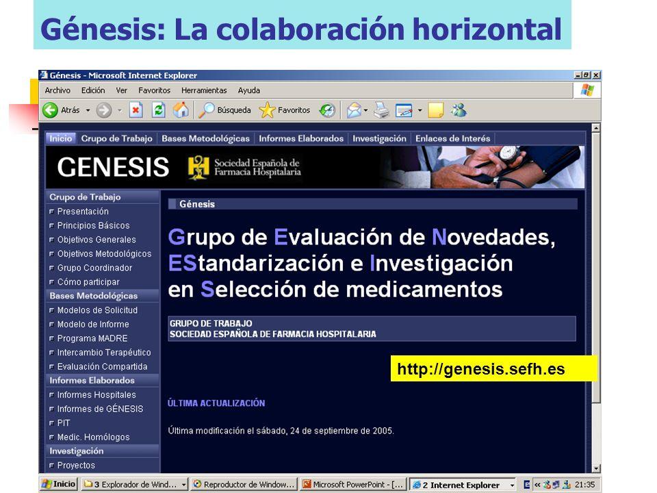 Grupo de trabajo GENESIS 2007-2008 51 farmacéuticos que representan 39 hospitales diferentes Modelo metodológico Modelo metodológico Acceso a informes de evaluación de hospitales Proyectos de investigación y docentes