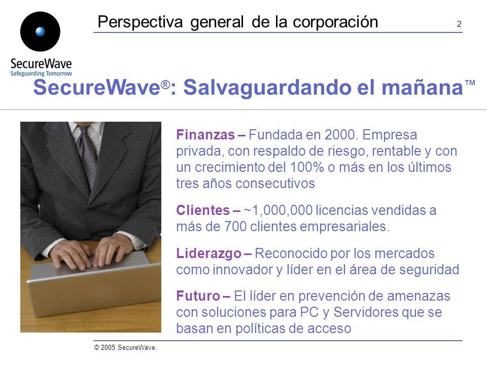 2 © 2005 SecureWave. Perspectiva general de la corporación Finanzas – Fundada en 2000.