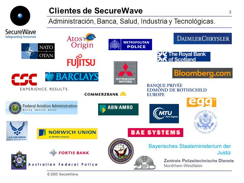 3 © 2005 SecureWave. Clientes de SecureWave Administración, Banca, Salud, Industria y Tecnológicas.